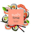 japanese sushi restaurant template with copy space vector image vector image
