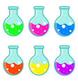 laboratory bulb set icon flat cartoon style vector image