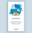 leadership male holding blue flag on pole vector image vector image