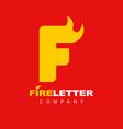 letter f fire flame logo symbol vector image vector image