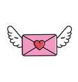love envelope with wings vector image vector image
