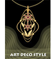 luxury art deco filigree pendant jewel with red vector image vector image