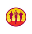 Marathon Runner Circle Woodcut vector image vector image