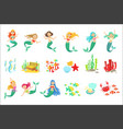 mermaids and underwater nature stickers cute vector image