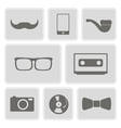 monochrome icons with different hipster objects vector image