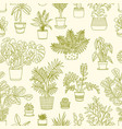 monochrome seamless pattern with plants growing in vector image vector image