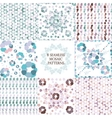 Mosaic pattern floral set vector image vector image