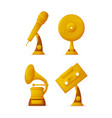 music gold prize trophies musical art awards vector image