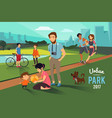 outdoor activities in urban park happy family vector image