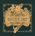 poster for the butcher shop with a piglet on tray vector image