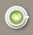 realistic cup with matcha latte drink top view vector image