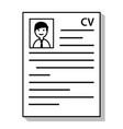 recruitment resume cv curriculum vitae document vector image
