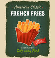 retro fast food french fries poster vector image vector image
