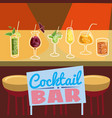 retro poster design for cocktailbar vintage vector image