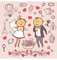 Romantic collection Cute wedding set vector image