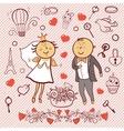 Romantic collection Cute wedding set vector image vector image