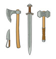 set edged weapons viking knife axe sword vector image