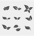 set of black tree leaf flat icon vector image
