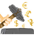 stone axe in hand and money signs vector image vector image