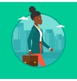 Successful business woman walking with briefcase vector image vector image