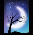 the old tree in the moonlighting vector image