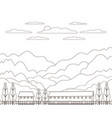 thin line outline landscape rural farm panorama vector image vector image