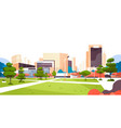 urban city park skyscraper buildings view modern vector image