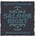 vintage label font name saloon night vector image vector image