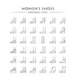 women shoes linear icons set female fashion vector image vector image