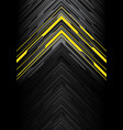 yellow light black line arrow polygon on grey vector image
