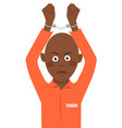 young african american prisoner with handcuffs vector image vector image