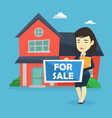 young female realtor offering house vector image vector image