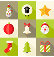 9 Christmas Flat Icons Set 8 vector image vector image