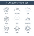 9 sunset icons vector image vector image
