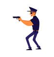 a policeman aiming with a gun cartoon flat vector image vector image