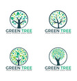 Abstract green trees set logo designs