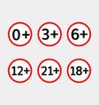 age limit icons set vector image