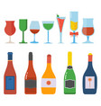 alcohol bottle and glasses set vector image