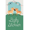 baby shower card with cute tigers couple vector image vector image