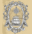 baroque frame with old frigate vector image vector image
