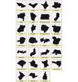 black maps subdivisions brazil vector image