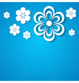 blue background with a border of flowers vector image vector image
