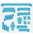 Blue retro ribbons set Elements isolated vector image