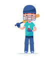 boy cricket player standing with a bat vector image vector image