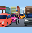 businessman biking in the city vector image vector image