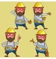 cartoon puzzled worker in the helmet vector image vector image
