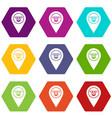 cash terminal pointer icon set color hexahedron vector image