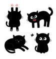 cat set black kitten nail claw scratch sitting vector image vector image