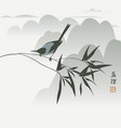 chinese mountain landscape with magpie on a branch vector image vector image