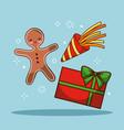 christmas gingerman gift box celebration festive vector image